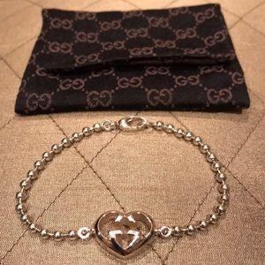 NWOT-Gucci Women's Sterling Silver Heart Bracelet